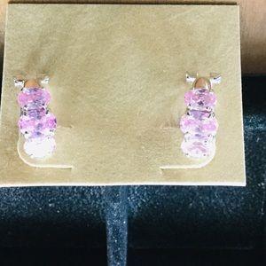 Pink tourmaline silver tone pierced earrings